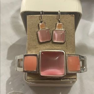 Pink and Coral Glass Fashion Jewelry Set